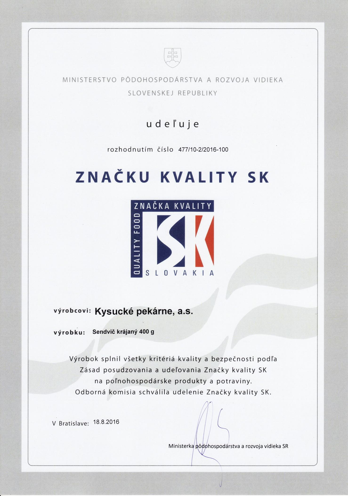 Značka kvality SK - Vilija
