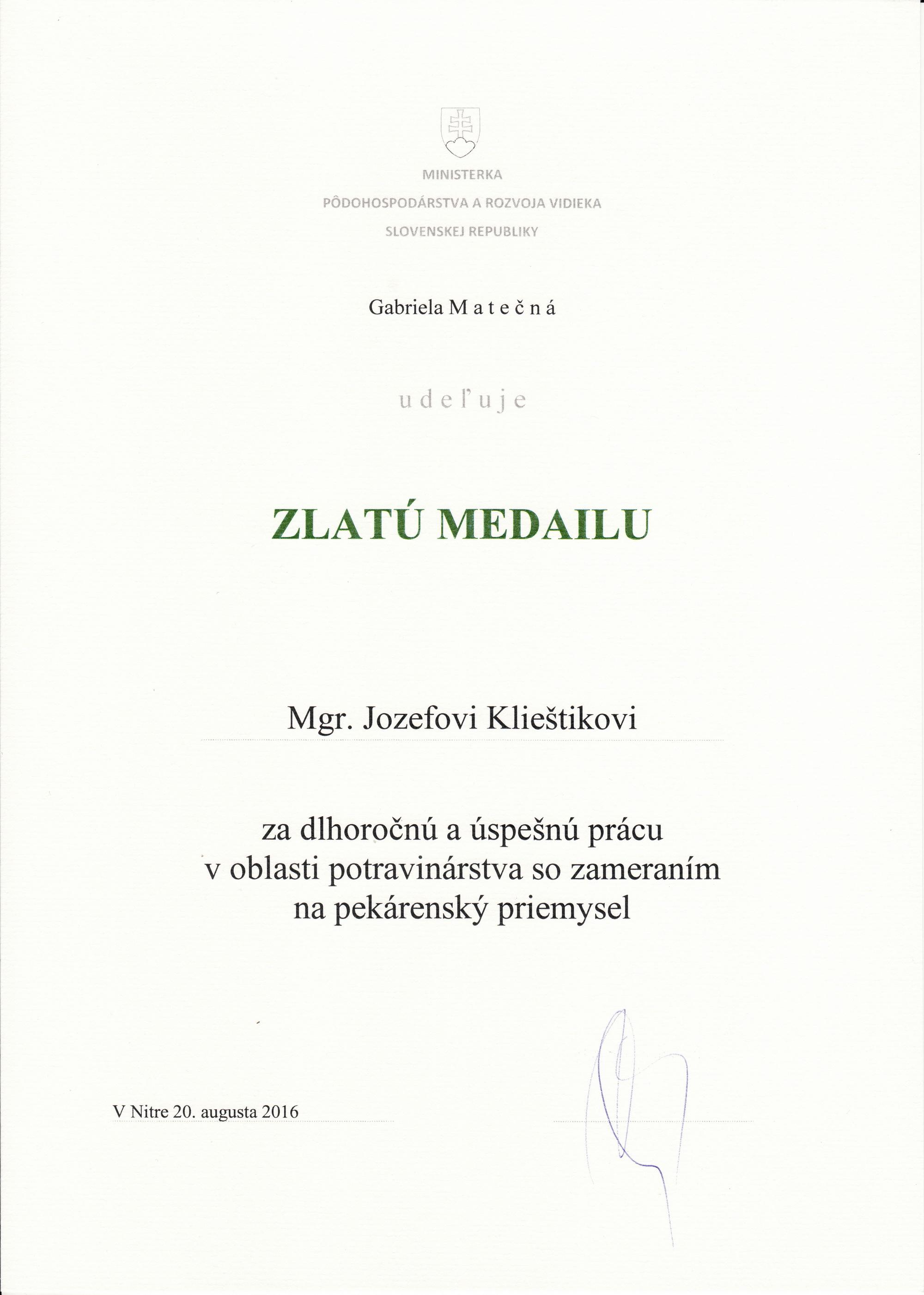 Zlatá medaila 2016 - Mgr. Jozef Klieštik - Vilija