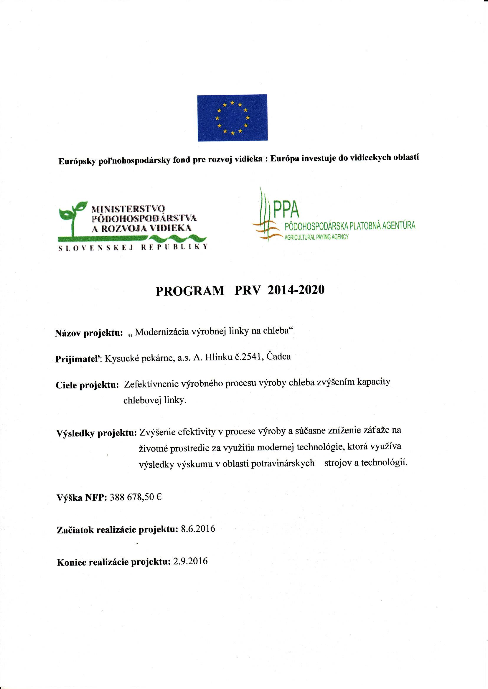Informácia o ukončení projektu+logá - Vilija Modernizácia výrobnej linky na chleba 10-16