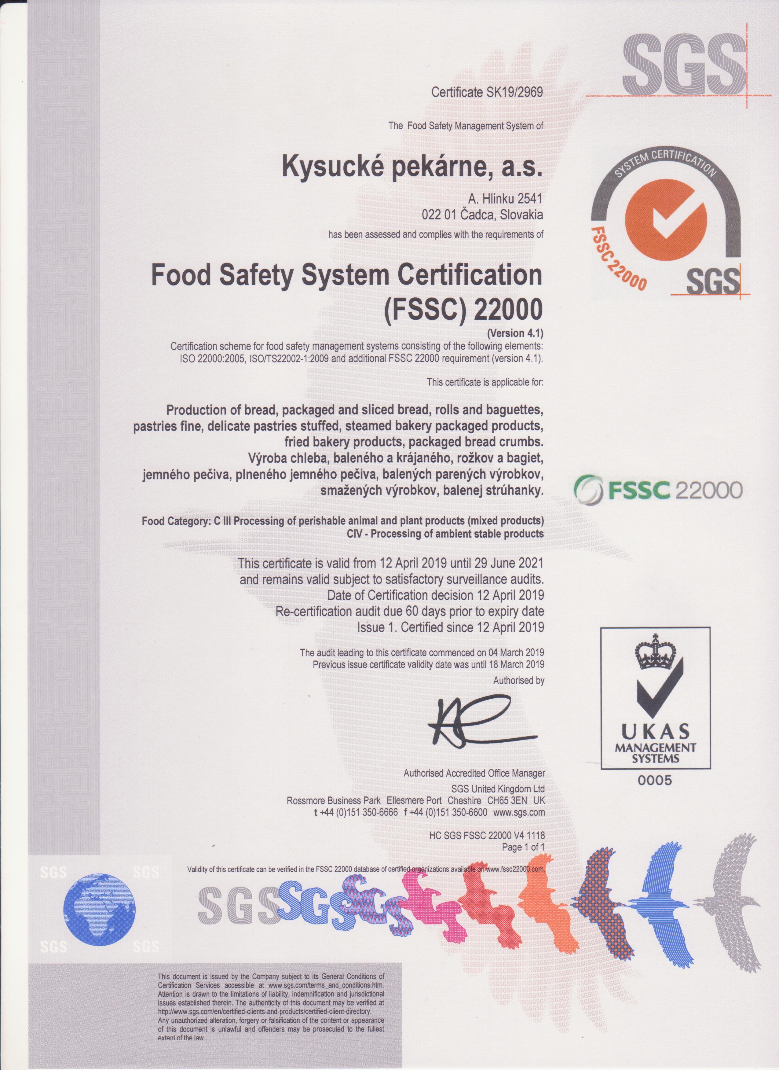 Certifikát kvality FSSC 22000 z roku 2019